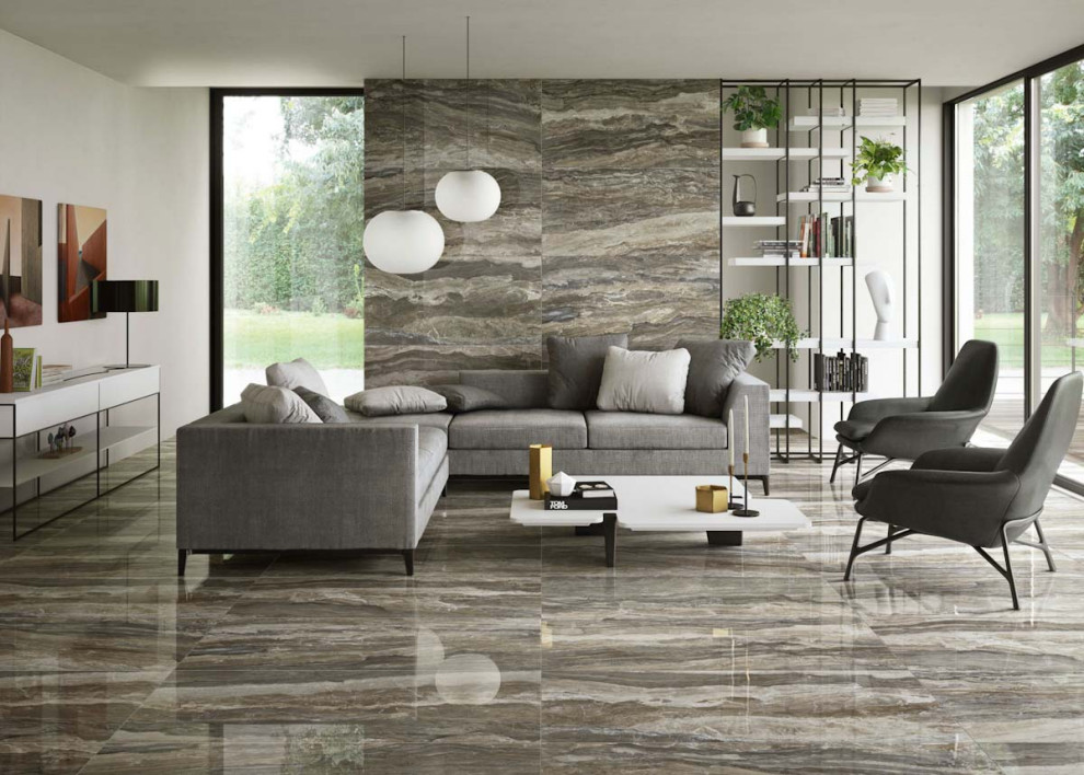 Polished Porcelain Tile Floor   Contemporary   Living Room   DC Metro   by Conestoga Tile