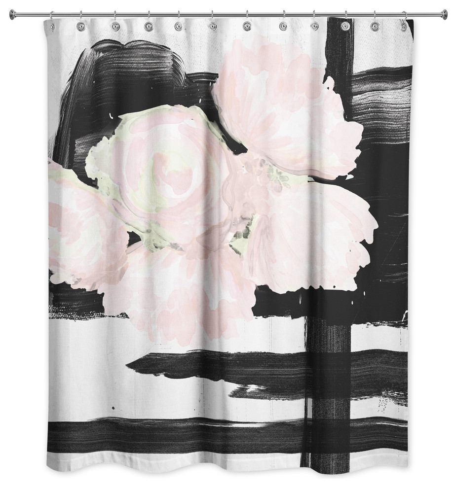 blush and black floral shower curtain