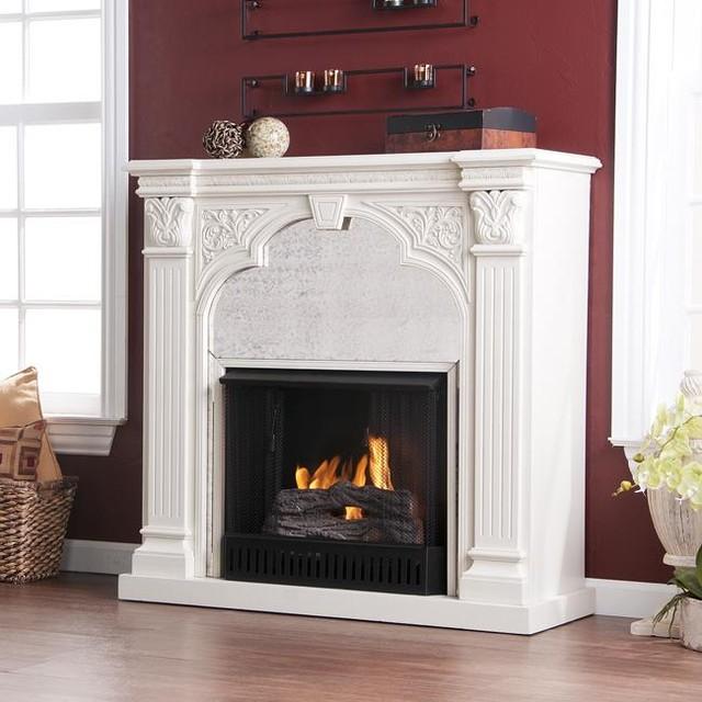 Kidwell Antique White Gel Fuel Fireplace  Modern  Indoor