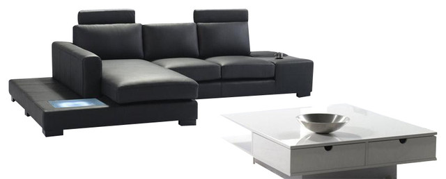 t35 mini modern white leather sectional sofa cast iron table legs black bonded with built in lighting
