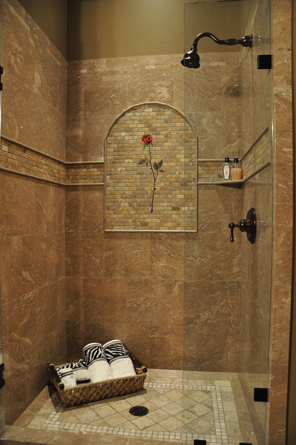 Marble Shower Rose Mural  Tropical  Bathroom  Seattle  by All Tile