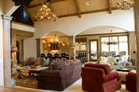 Lodge Style Lake House - Mediterranean - Living Room ...