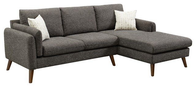 founders linen fabric right facing sectional sofa chaise brown
