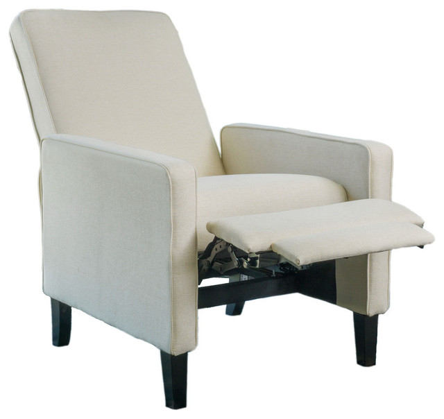 reclining club chair office accessories olirdy contemporary beige fabric recliner transitional chairs by gdfstudio
