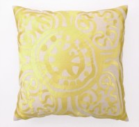Trina Turk Yellow Rustic Medallion Embroidered Pillow ...