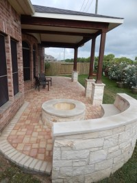 Covered Patio with Pavers - Contemporary - Patio - Houston ...
