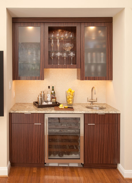 Wet Bar with Sub Zero Wine Storage Cooler  Wine Cellar  Philadelphia  by Mrs G TV  Appliances