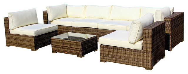 outdoor patio furniture sofa all weather wicker sectional 7 piece couch set