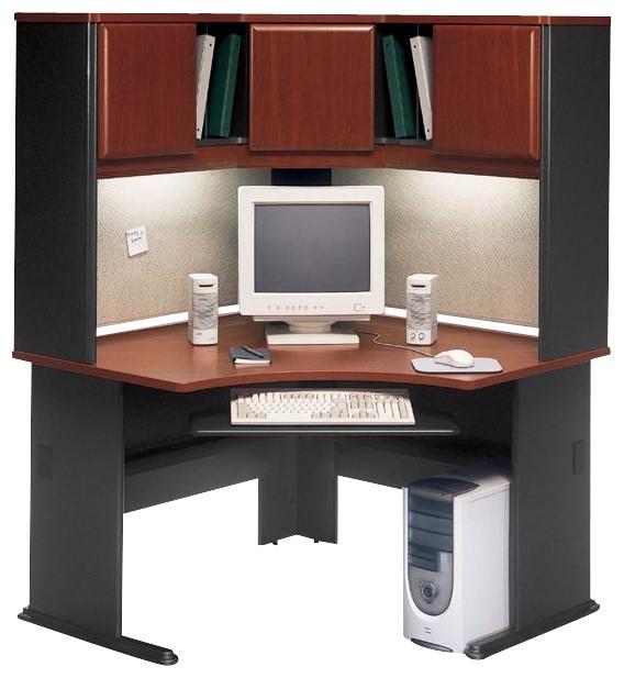 Bush Series A 48 Corner Computer Desk with Hutch in Hansen Cherry  Transitional  Desks And