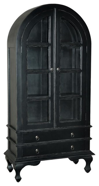 Wooden Cabinet in Light Distressed Black Finish  Traditional  China Cabinets And Hutches  by