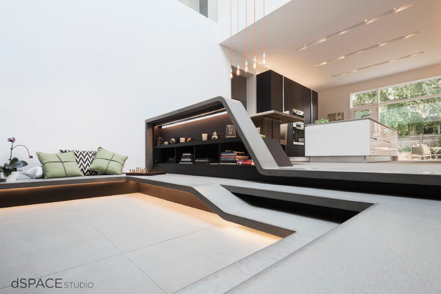 Zen Garden Atrium  Contemporary  Living Room  Chicago