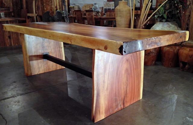 Large Natural / Live Edge Monkeypod Wood Dining Table