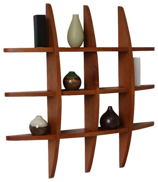 Lexington Grid Wall Shelf Honey Oak Contemporary