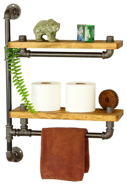 farmhouse bath shelf with towel bar