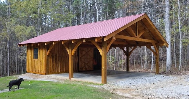 Timber Frame Carport Workshop Rustikal Atlanta