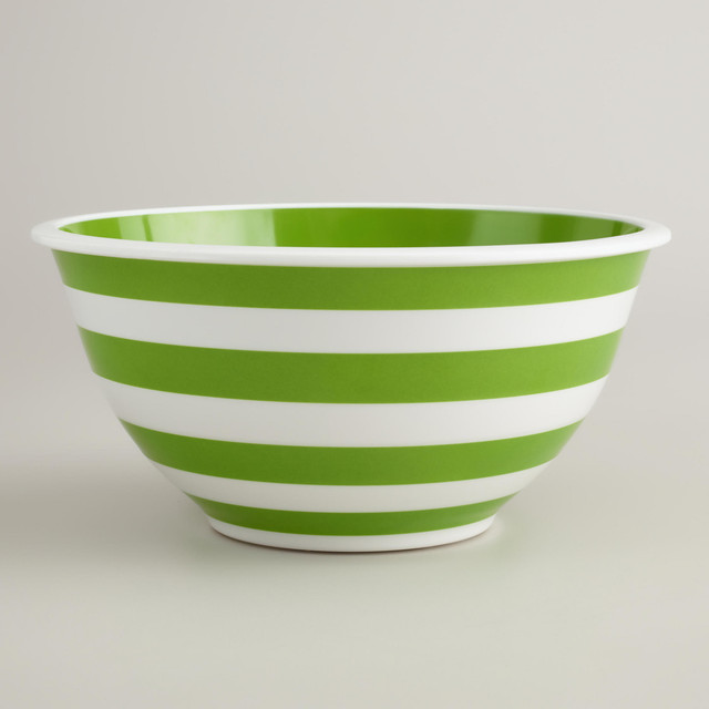 Green and White Striped Mixing Bowl