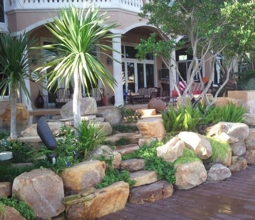 tropical outdoor rock garden steps