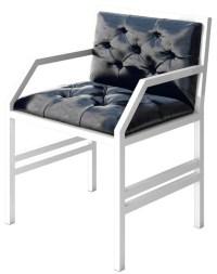 Nando Modern White Metal Contemporary Chair, Black Leather ...
