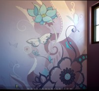 Decorative Floral and Butterfly Wall Mural - Contemporary ...