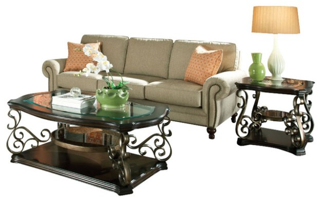 standard furniture seville 3-piece coffee table set with burnished