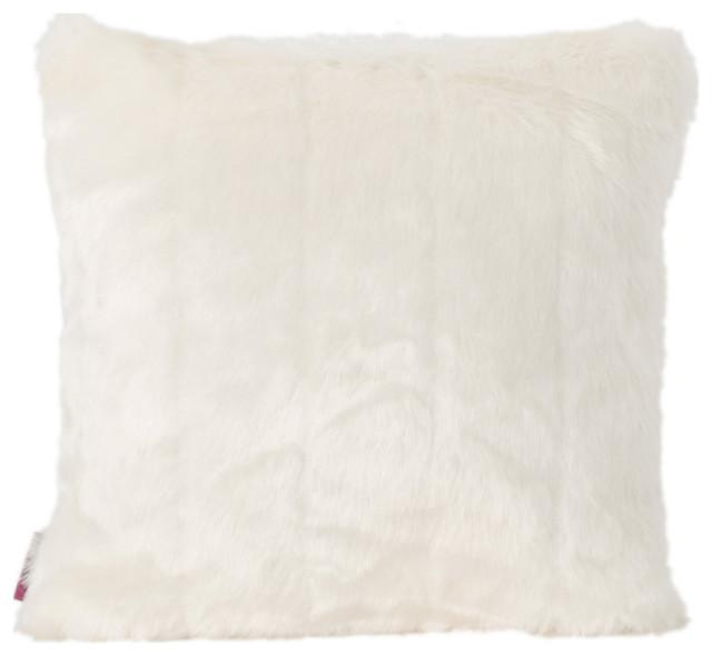 gdf studio laraine furry glam white faux fur throw pillow