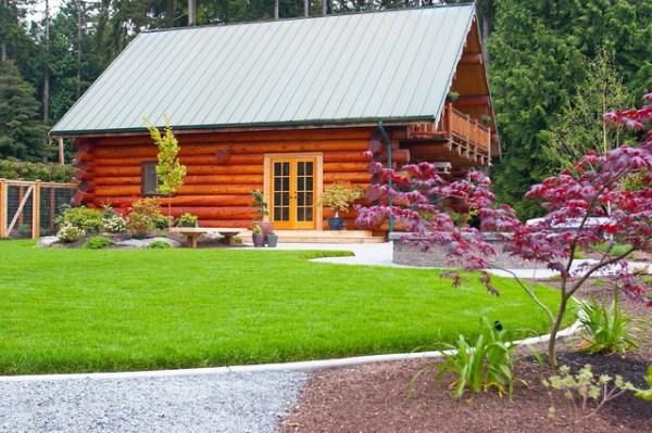 log cabin lake - rustic landscape
