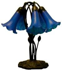 Tiffany-style 5-way Bronze Lily Amber/ Purple Table Lamp ...