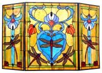Tiffany-Style Dragonfly 3-Panel Folding Fireplace Screens ...
