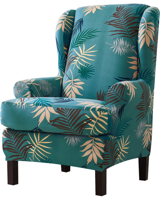 blue wingback chair slipcovers metal armchair 2 piece leaf printing slipcover stretchable tropical and covers by subrtex houseware inc