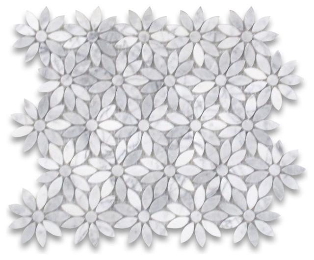 12 x12 carrara white daisy flower pattern mosaic tile polished