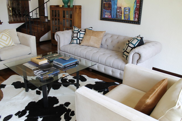 Linen Chesterfield Sofa, Glass Cocktail Table And Cowhide