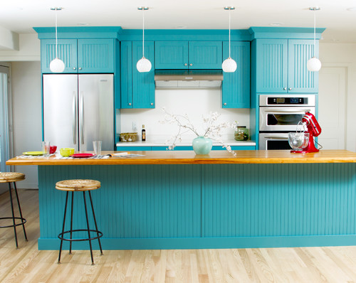 Bold and Blue Cottage Kitchen