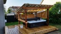 Cedar Backyard - Covered Hot tub, Galvanized steel fence ...