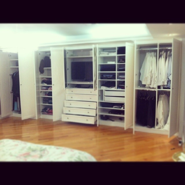Wall Unit With A Pretty Design In The Mirrors Contemporary Bedroom By European Closet