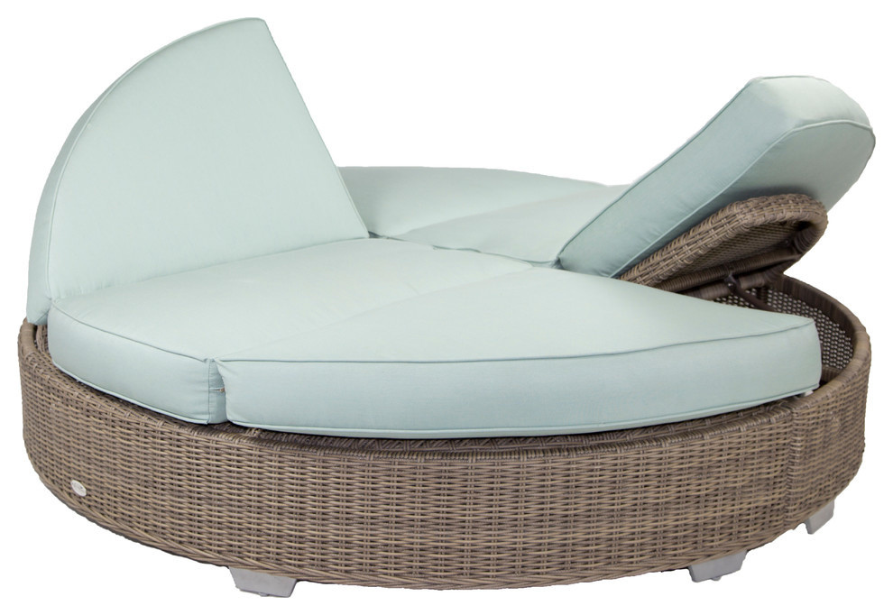 palisades round double chaise with sunbrella cushions gray canvas natural