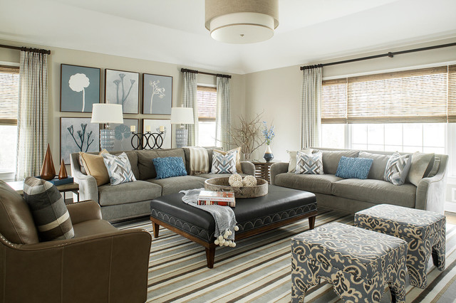 Warm Gray Family Room  Transitional  Family Room  New York  by Karen B Wolf Interiors