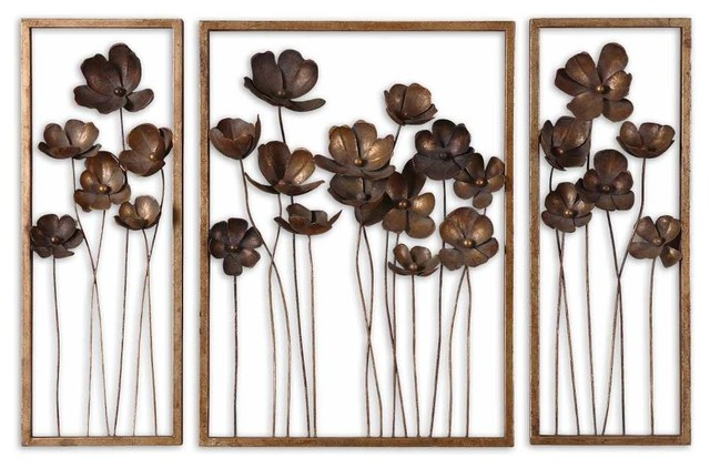 piece set fancy floral wall art metal gold leaf charcoal gray