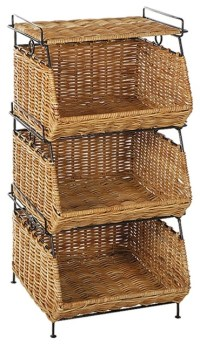 Stackable Filing Rattan Baskets in Natural - Contemporary ...
