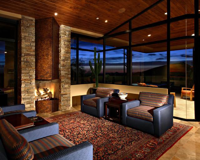 Desert Mountain Estate Contemporary Family Room