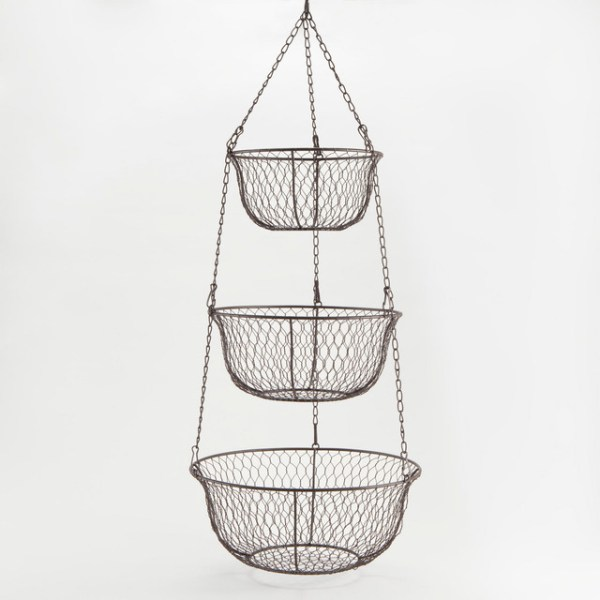 hanging kitchen basket 3-Tier Hanging Wire Basket - Traditional - Serving And Salad Bowls - by Cost Plus World Market
