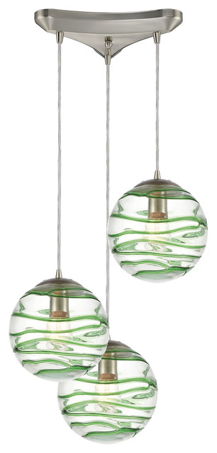 coastal beach 3 light pendant in satin nickel finish