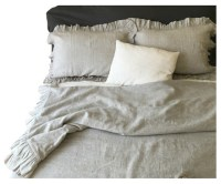 Ruffle Natural Linen Duvet Cover, Twin/Twin Extra Large