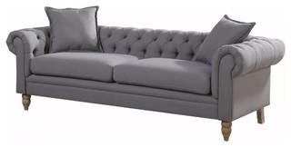 Juliet Linen Fabric Button Tufted Chesterfield Sofa, Gray