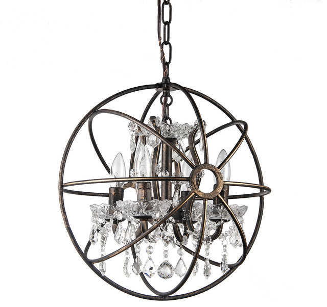 "Dover 4-Light Antique Bronze Vintage Globe Cage Chandelier With Crystals, 16"" contemporary-chandeliers"