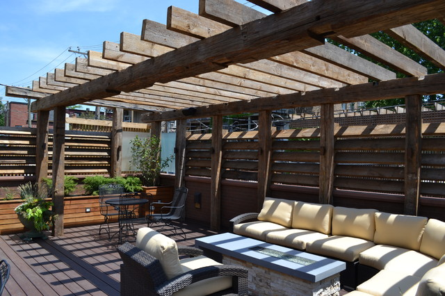 Contemporary Outdoor Space With Reclaimed Timber Pergola