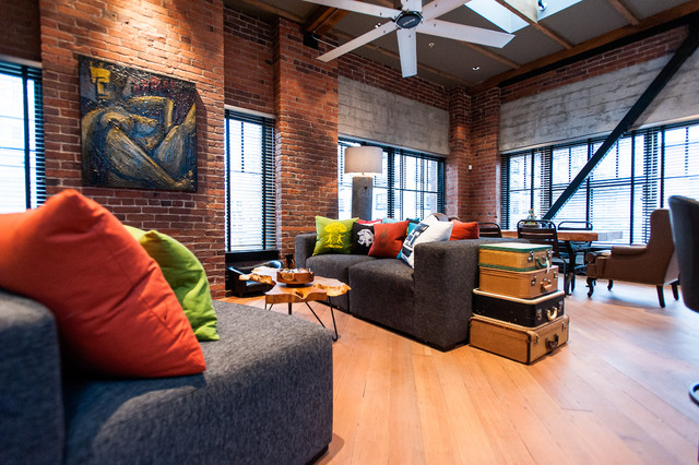 Hamilton  Eclectic Industrial  Contemporary  Family Room  Vancouver  by Beyond Beige