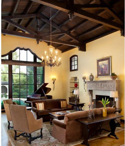 Spanish Revival Restoration Mediterranean Living Room