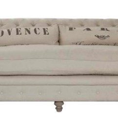French Linen Tufted Sofa Small Faux Leather 2 Seater Country Provence Natural Nailhead Traditional Sofas By Hudson Home Decor