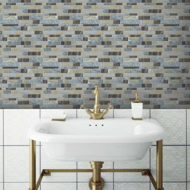blue long stone tile peel and stick backsplash