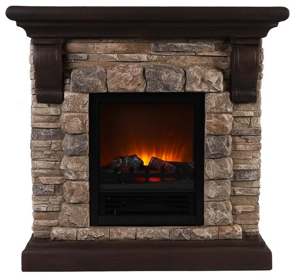 OK Lighting Faux Stone Portable Fireplace  Indoor